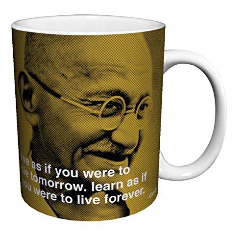 Mahatma Gandhi Live Quote iPhilosophy Political Spiritual Icon Celebrity Ceramic Gift Coffee (Tea, Cocoa) 11 Oz. Mug ()