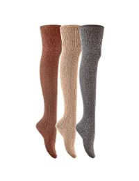 Lovely Annie Women's@Big Girl's 3 Pairs Fashion Thigh High Cotton Socks Over the Knee High Socks LA1025 (US)