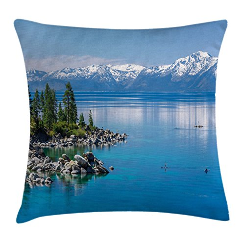 Throw Pillow Cushion Cover, Blue Waters of Lake Tahoe Snowy Mountains Pine Trees Rocks Relax Shore, Decorative Square Accent Pillow Case, 18 X 18 Inches, Light Blue Green Grey ()