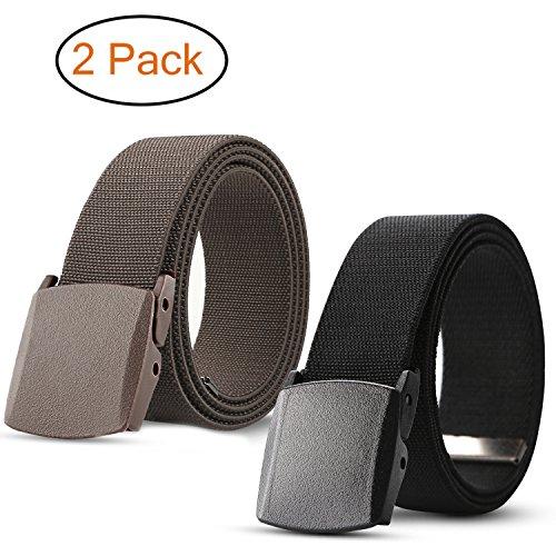 Men's Elastic Stretch Belt, JASGOOD Outdoor Plastic Belt with Removable Buckle Hiking Belt 38mm (Fit up to 44'', (Nylon Stretch Belt)