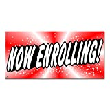 Graphics and More Now Enrolling - School Day Care Business Sign Banner - 46'' (width) X 22'' (height)