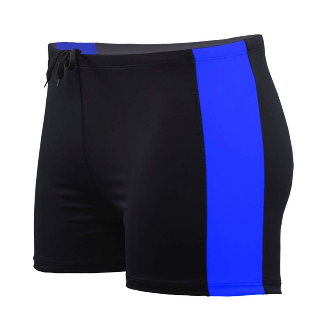 Fxbar, Men's Half Swim Trunks Tight Lifting Shorts Workout Shorts Bathing Suit(Blue,XL)
