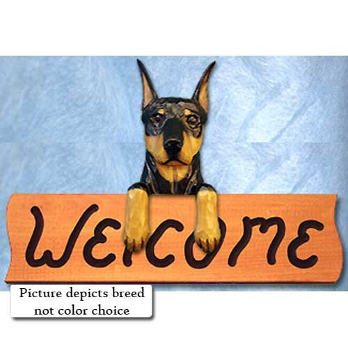 (Michael Park Doberman Pinscher RED and TAN Welcome Sign)