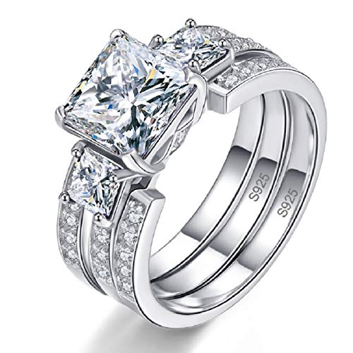 BONLAVIE Solid Sterling Silver Round & Princess Cut White CZ Eternity Wedding Ring Sets for Her Size 7 ()