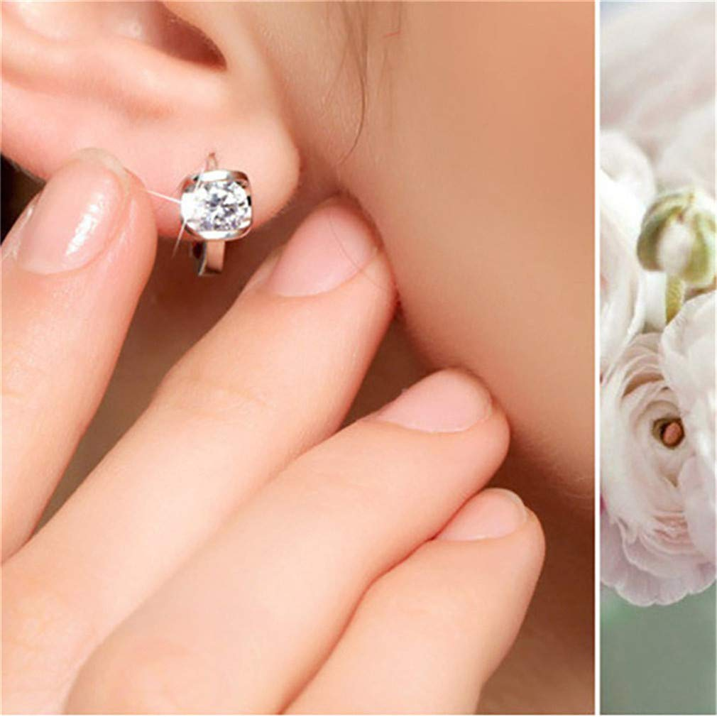 DONGMING Silver Plated Hoop Earring for Women Girls Luxury Charm Flash Crystal Rhinestones Stud Earrings Fashion Jewelry Gift