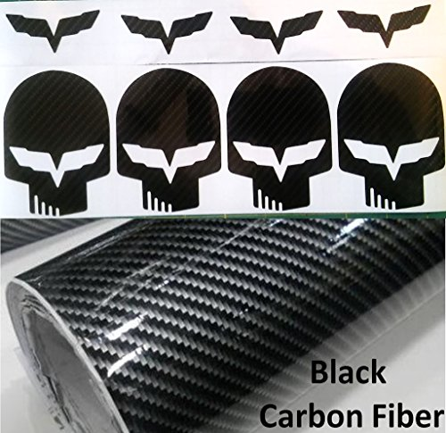 JAKE SKULL Brake Light Decal CARBON FIBER Vinyl Graphics + 4 free C6 emblem decals (Fits Chevy Corvette C6 StingRay) - Black Chevy Corvette Carbon Fiber