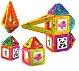 Creative Time 34-Piece Clear Colors Magnetic Tiles Deluxe Building Set