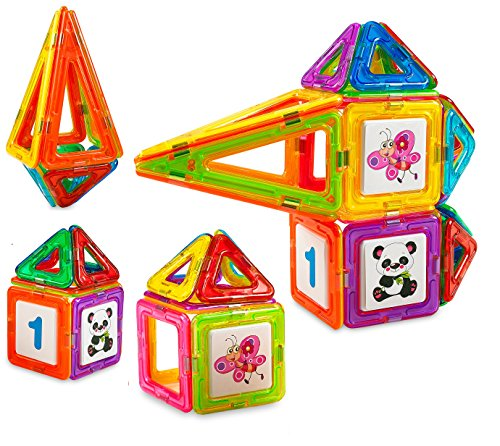 Quality Motor (Creative Time 34-Piece Clear Colors Magnetic Tiles Deluxe Building Set)