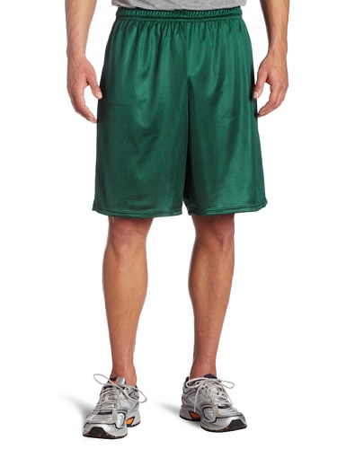 Soffe Men's Long Polyester Mini-Mesh Short Dark Green X-Large (Mesh Green Shorts)