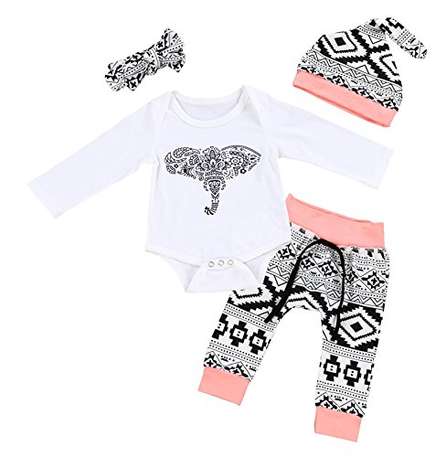 One Piece Outfit (Von kilizo Baby Girls Boy Long Sleeve Elephant Rompers Christmas 4Pcs Outfit Set(0-3 Months))