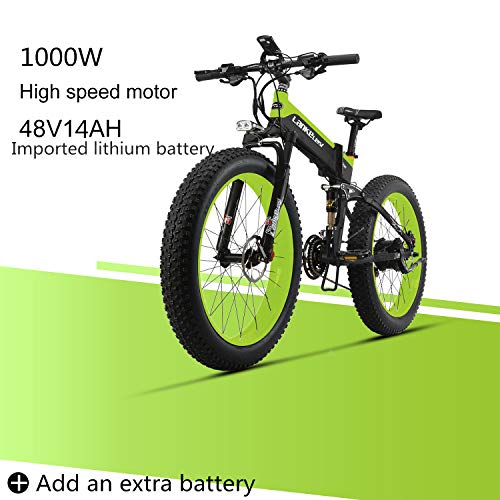 LANKELEISI XT750 Plus 48V 14AH 1000W Engine New Almighty Powerful Electric Bike 26 '' 4.0 Fat tire E-Bike 27 Speed Snow MTB Folding Electric Bike for Adult Female/Male (Green + 1 Extra Battery)