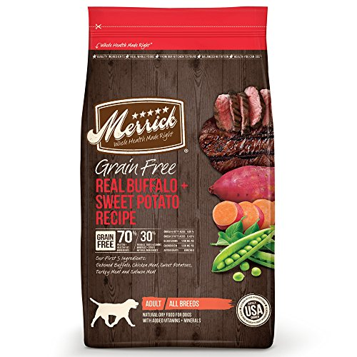 Merrick Grain Free Real Buffalo & Sweet Potato Dry Dog Food, 25 lb. (Wellness Turkey 95%)