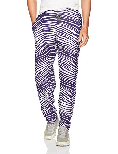 Zubaz Men's Classic Zebra Printed Athletic Lounge Pants, Purple/White -