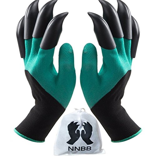 (NNBB Garden Gloves with Fingertips Claws Quick– Great for Digging Weeding Seeding poking -Safe for Rose Pruning –Best Gardening Tool -Best Gift for Gardeners (Double)