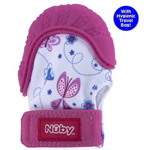 51GXZhBup1L - Nuby  Soothing Teething Mitten with Hygienic Travel Bag, Pink