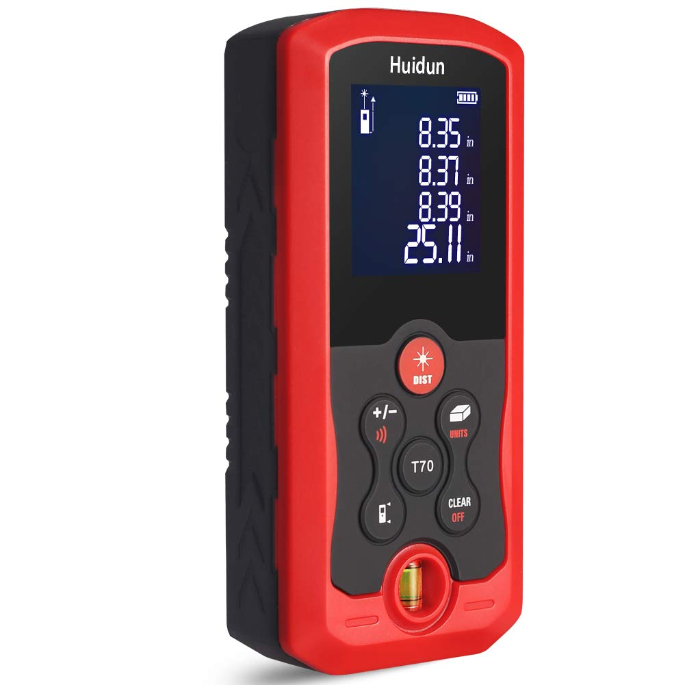Huidun Digital Laser Measure 131 Ft Hand-Held Laser Distance Meter with Mute Function Large LCD Backlight Display Measure Distance, Area, Volume, Pythagorean Mode, Battery Included (40M)