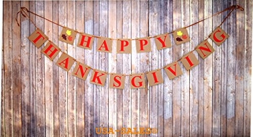 [USA-SALES] Happy Thanksgiving Day Banner, Thanksgiving Decorations, by USA-SALES Seller for $<!--$10.99-->