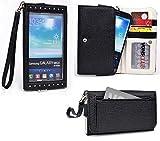 Samsung GALAXY Note 3 Neo (Dual SIM SM-N7502/LTE+ SM-N7505/3G SM-N750) Wallet Wristlet Clutch With Hand Strap and Credit Card Slots| Black & Quiet Grey