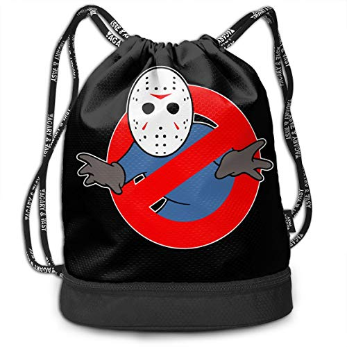 Cheny Drawstring Backpack Ghostbusters Jason Voorhees Sports Gym Cinch Sack Bag for Kids Gym Gymsack Sackpack]()