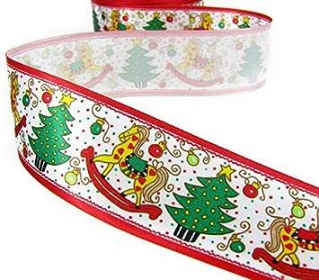 "5 Yds Christmas Hobby Horse Satin Ribbon 1 1//2/""W bin2"