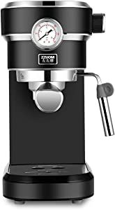 Coffee machine SKTY upgrade Espresso Machine, 15 Bar Coffee Machine with Foaming Milk Wand, 850W High Performance 1.1L Removable Water Tank Coffee Maker for Espresso, Cappuccino, Latte, Black Traditio