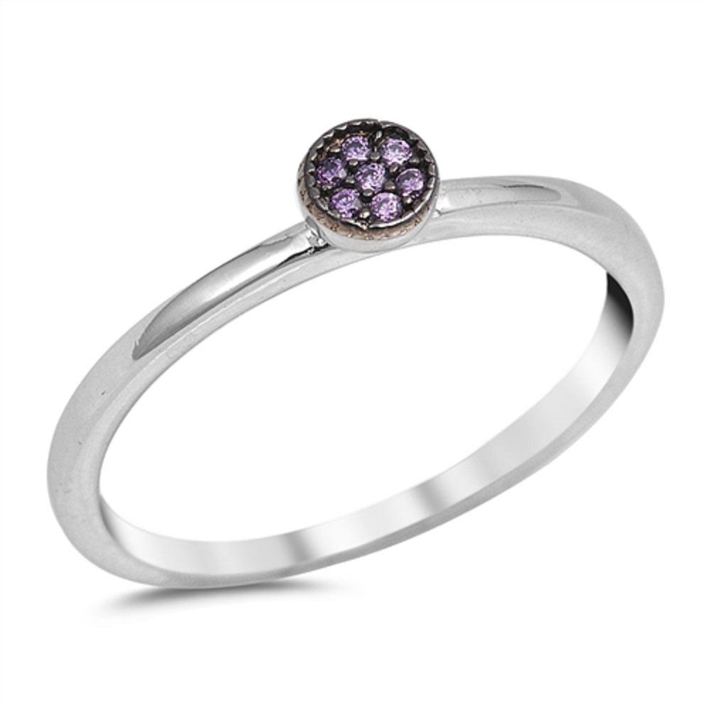 CloseoutWarehouse Simulated Amethyst Cubic Zirconia Circle Designer Ring Sterling Silver