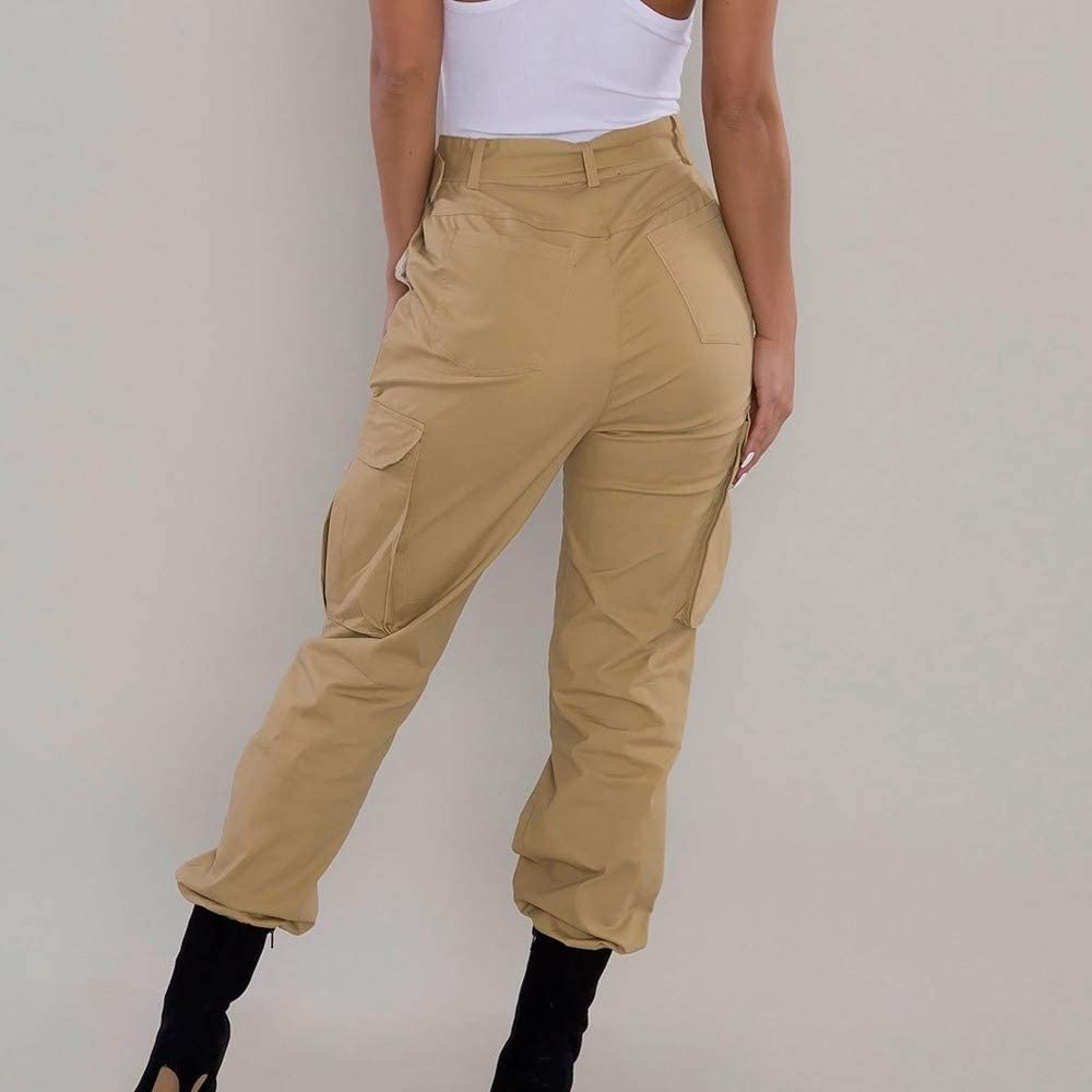 Padaleks Womens Cargo Pants Casual Sports Streetwear High Waisted Baggy Jogger Workout Sweatpants with Pockets