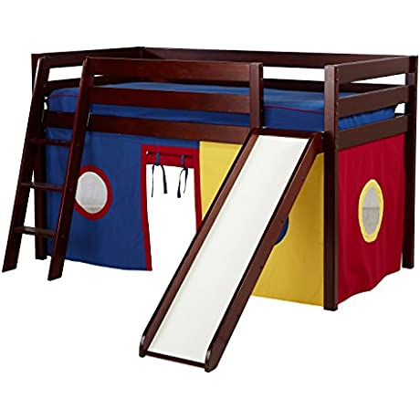 Jackpot Essentials Low Loft Play Bed With Slide Angled Ladder And Blue Red Yellow Curtains Cherry Finish