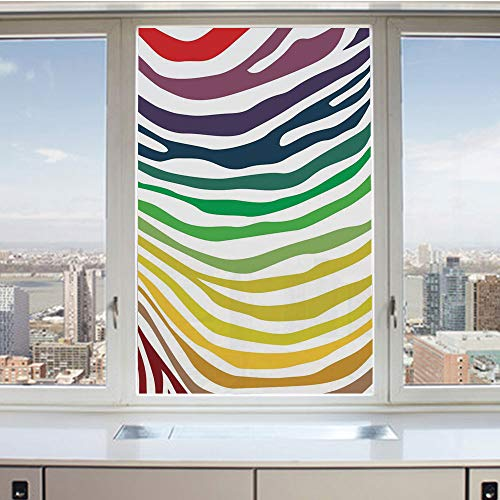 Etched Zebra Stripe - 3D Decorative Privacy Window Films,Colorful Zebra Stripes Pattern in Cheering Rainbow Color Modern Style Art Decorative,No-Glue Self Static Cling Glass film for Home Bedroom Bathroom Kitchen Office 24