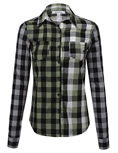 Gradient Olive (Made by Emma Gradient Checkered Plaid Button Up Top Olive L Size)