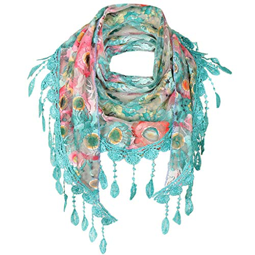 - Ladies/Women's Lightweight Floral Print/Solid Color mixture Shawl Scarf For Spring Summer season