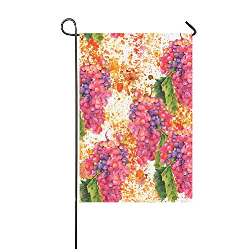 (Home Decorative Outdoor Double Sided Vineyard Ripe Grapes Natural Country Landscape Wine Green Brown Blue Garden Flag,house Yard Flag,garden Yard Decorations,seasonal Welcome Outdoor Flag12X18In Gift)