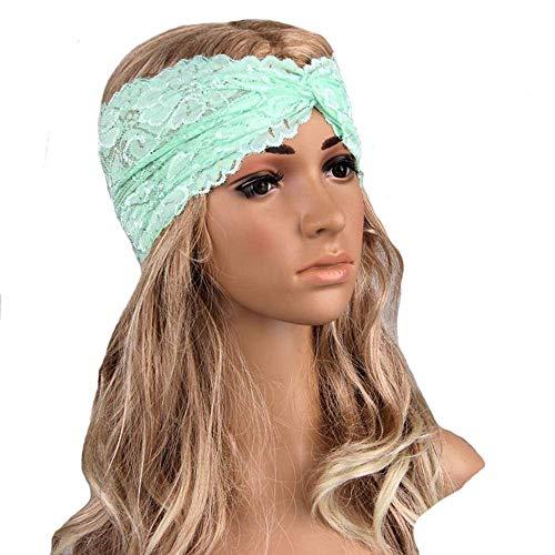 Fashion Elastic Headbands, Lace Cross Retro Hair Band Headband Twisted Sports Yoga Headscarf Stretch wrap Headband Mint Green