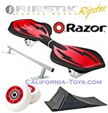 Red Razor Mini Ripstik Ripster Castor Board with PUNK RAMP & PUNK RAIL & Extra Set of 68mm Red RIPSTER Replacement Wheels
