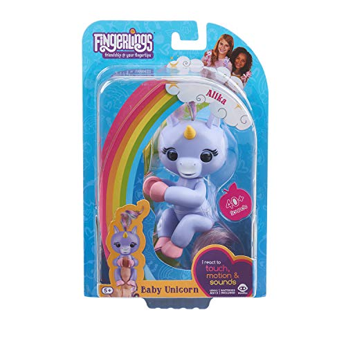 - Fingerlings Baby Unicorn - Alika (Purple with Rainbow Mane and Tail) - Interactive Baby Pet - WowWee