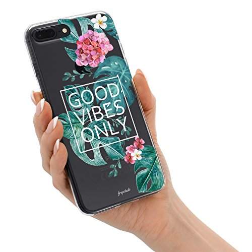 iPhone 8 Plus iPhone 7 Plus Aloha Love Summer Tropical Colorful Hawaii Floral Clear Rubber Case Good Vibes Only Palm Tree Beach Floral Rose Girl Case for iPhone 8 Plus(7 Plus) Photo #8