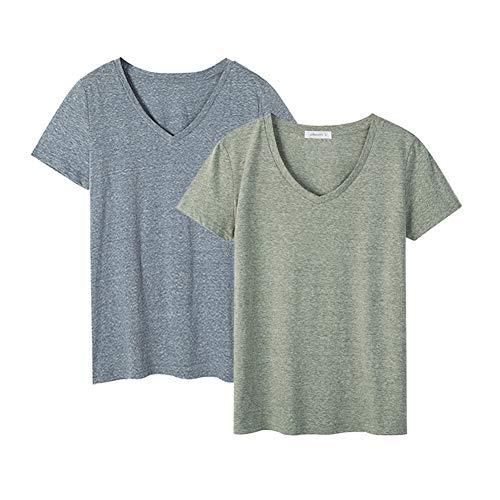 Dolcevida Women's Cotton Short Sleeve T Shirt V-Neck Tees (Pack of 2) (L, Smoky Blue&Olives Mix) ()