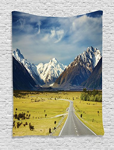 Mountain Tapestry Apartment Decor by Ambesonne, Landscape with Road and Snow Capped Mountains Southern Alps New Zealand Picture, Bedroom Living Room Dorm Wall Hanging Tapestry, Navy White Olive (Art Wall Living Southern)