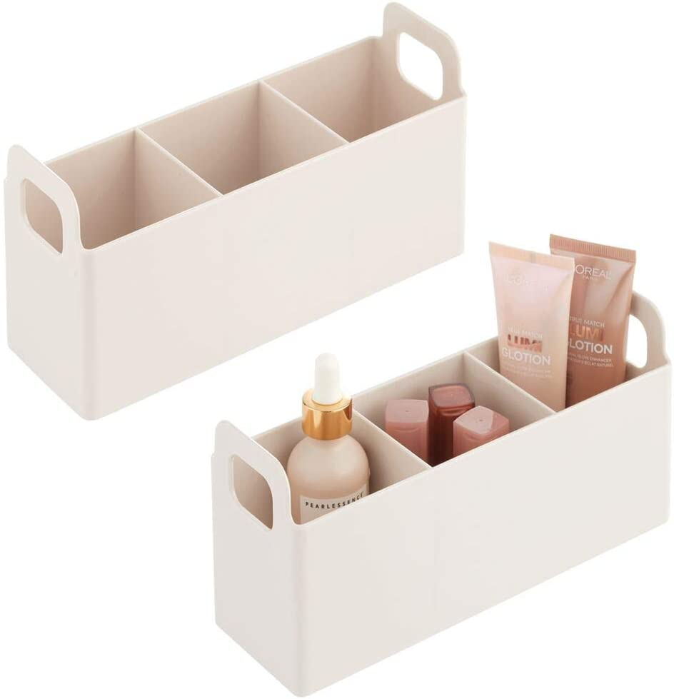 mDesign Plastic Bathroom Vanity, Cabinet, Countertop Cosmetic Organizer Storage Station Makeup Holder - Holds Eyeshadow Palettes, Nail Polish, Makeup, Blenders, Lip Gloss, 2 Pack - Cream/Beige