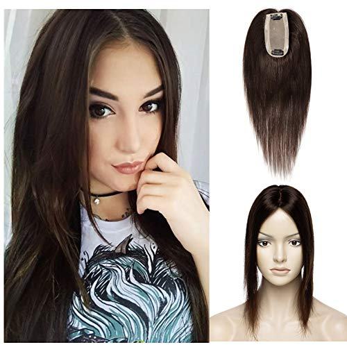Brown Mono Top - Silk Base Crown Topper Human Hair Clip in Top Hairpieces for Women 613cm Mono Net Lace PU Round Toupee 120% Density Indian Straight Hair Wiglet(12
