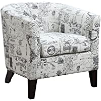 AC Pacific Jerry Collection Transitional Upholstered Barrel Back Accent Chair with French Script and Arms, White