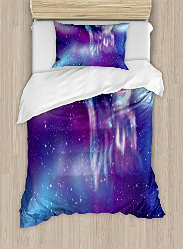 (Ambesonne Fantasy Duvet Cover Set Twin Size, Psychedelic Northern Starry Sky with Spirit of A Wolf Aurora Borealis Display, Decorative 2 Piece Bedding Set with 1 Pillow Sham, Blue Purple)