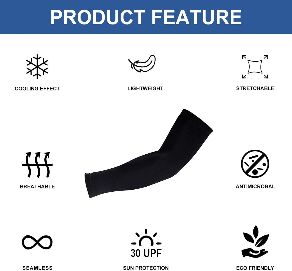 3 Sizes, Pack of 1 Pair HuiYee compression Arm Sleeves Unisex and comfortable for Outdoor Sports Arm Cooling Sleeves with anti-slip design