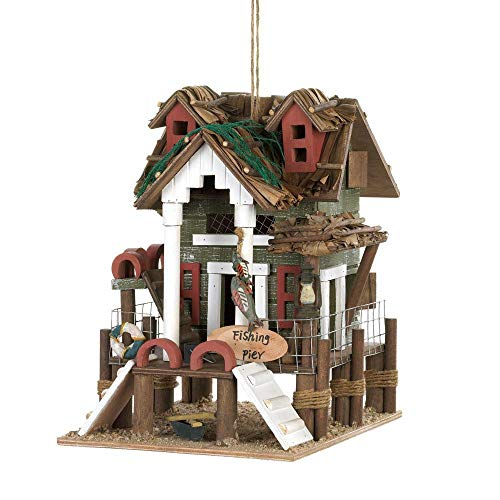 Fishing Rustic Lake Cabin Beach Nautical Wood Fairy Garden Bird House ()