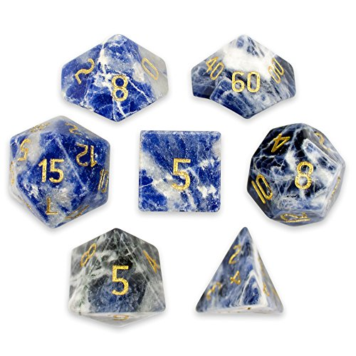 Wiz Dice Set of 7 Handmade Stone 16mm Polyhedral Dice with Velvet Pouch (Sodalite) ()