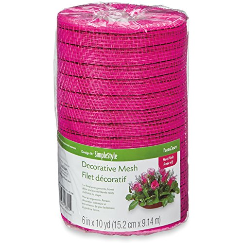 Decorative Mesh - FloraCraft Design It: SimpleStyle Decorative Mesh, 6-Inch by 10-Yard, Hot Pink with Metallic Strands