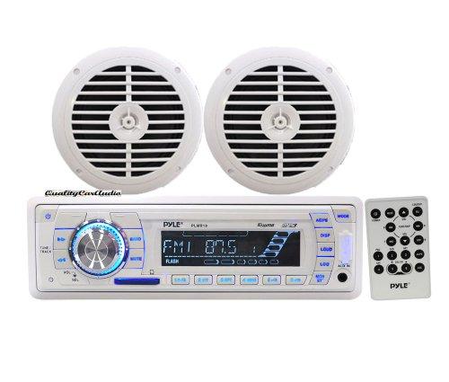 Pyle - AM/FM-MPX PLL Tuning Radio w/SD/MMC & USB + 5 1/4'' Dual Cone Waterproof Stereo Speaker System - KTMRGS116