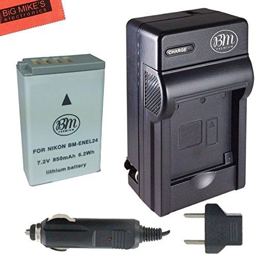 BM Premium EN-EL24 Battery and Charger for Nikon 1 J5, DL18-50, DL24-85 Digital Camera