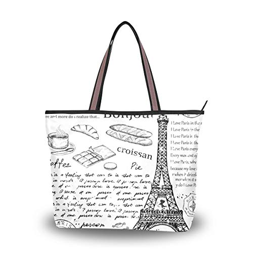 Tote Bag for Women Eifel Tower English Alphabet Large Utility Shoulder Handbag Top Handle
