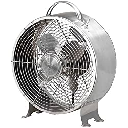 Decobreeze Retro Table Fan 2 Speed Air Circulator Fan, 9 in, Brushed Stainless